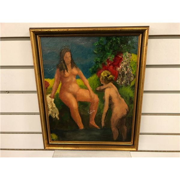 Frank Molnar Canadian (1936-2020) - framed nude oil on board painting 1962 - 2 women bathers approx.