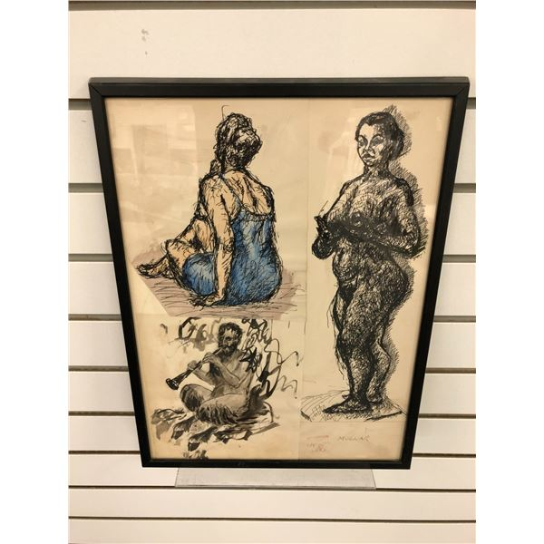 Frank Molnar Canadian (1936-2020) - framed pencil sketch drawing 1959 art show entry - approx. 12in