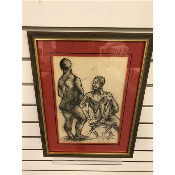 Frank Molnar Canadian (1936-2020) - framed charcoal pencil sketch drawing 1959 Art School - approx.