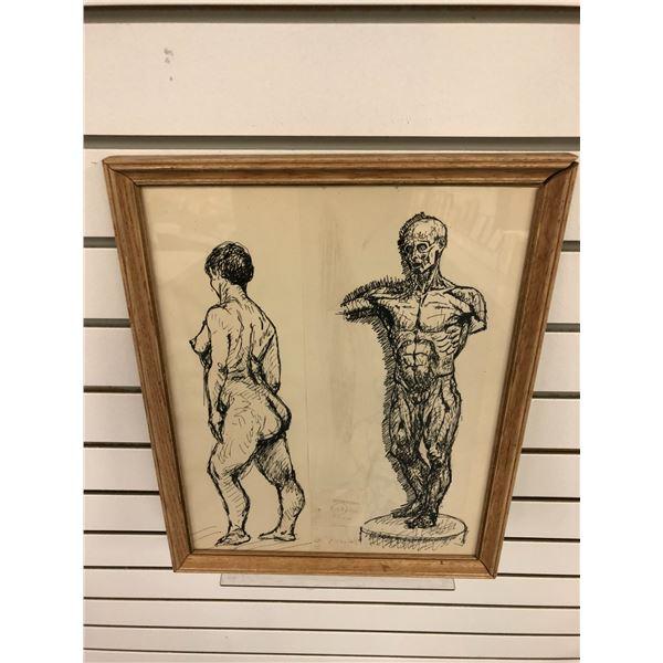 Frank Molnar Canadian (1936-2020) - framed charcoal pencil sketch drawing 1960 Registered Exhibit dr