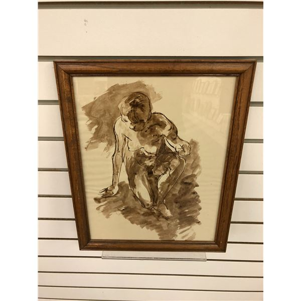 Frank Molnar Canadian (1936-2020) - framed nude watercolor painting - approx. 12 1/2in x 15 1/2in (2
