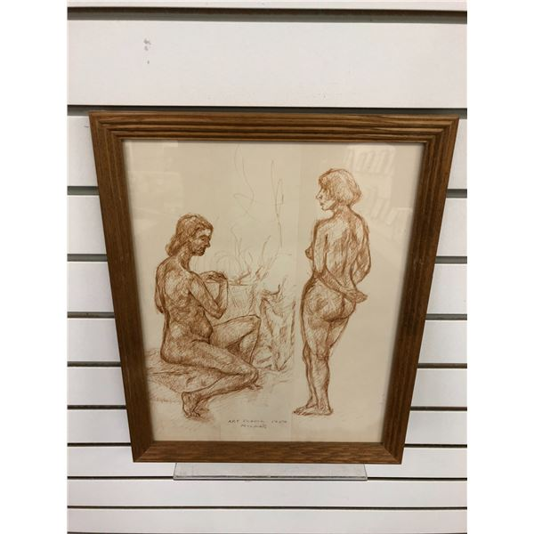 Frank Molnar Canadian (1936-2020) - framed nude red charcoal pencil sketch drawing Art School 1959 -