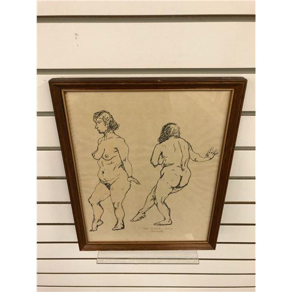 Frank Molnar Canadian (1936-2020) - framed nude charcoal pencil sketch drawing Art School 1959 - app