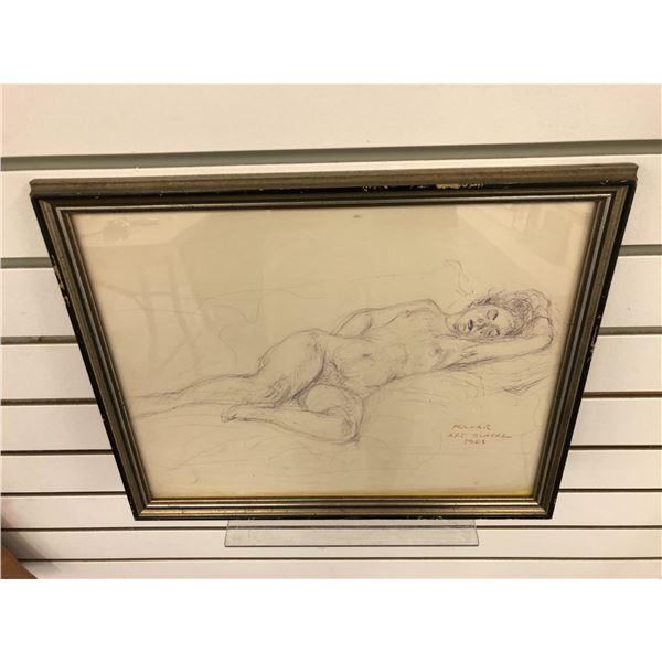 Frank Molnar Canadian (1936-2020) - framed nude charcoal pencil sketch drawing Art School 1961 - app