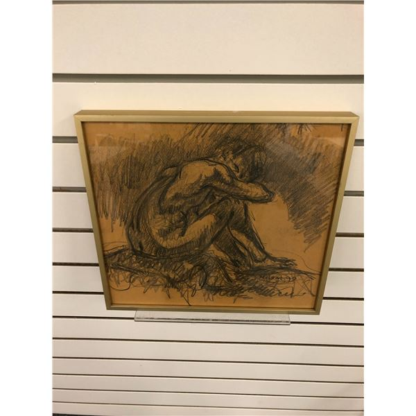 Frank Molnar Canadian (1936-2020) - framed nude charcoal pencil sketch drawing 1990 - approx. 12in x