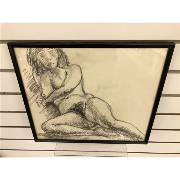 Frank Molnar Canadian (1936-2020) - framed nude charcoal pencil sketch drawing 1976 - approx. 14 1/2
