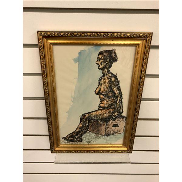 Frank Molnar Canadian (1936-2020) - framed nude watercolor/ pencil sketch Art School 1960 - approx.