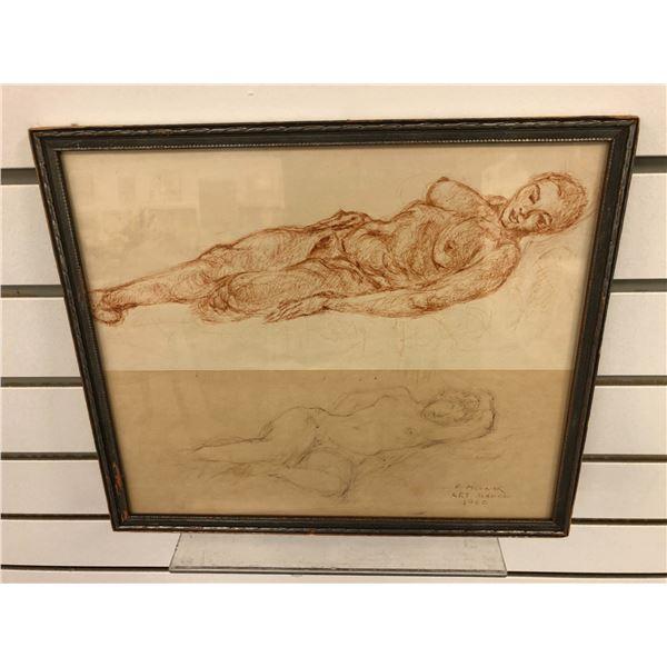 Frank Molnar Canadian (1936-2020) - framed nude pencil sketch drawing Art School 1960 - approx. 12 1