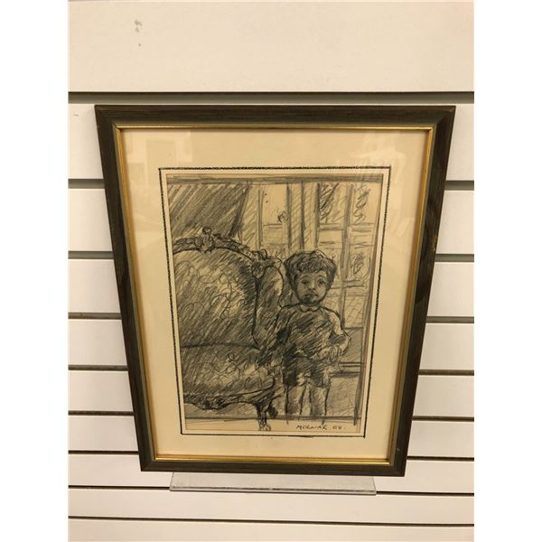 Frank Molnar Canadian (1936-2020) - framed charcoal pencil sketch drawing 1968 - child & chair - app