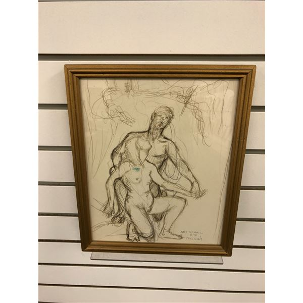 Frank Molnar Canadian (1936-2020) - framed nude pencil sketch drawing Art School 1959 - child & chai