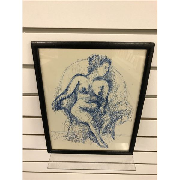 Frank Molnar Canadian (1936-2020) - framed nude sketch - approx. 9in x 12in (132)