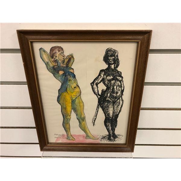 Frank Molnar Canadian (1936-2020) - framed nude sketch Art School 1960 - approx. 9in x 11in (239)