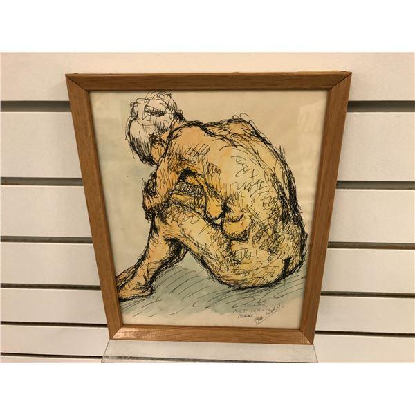 "Frank Molnar Canadian (1936-2020) - framed nude sketch ""Old Model"" Art School 1960 - approx. 9in x 1"