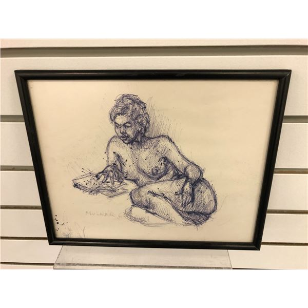 Frank Molnar Canadian (1936-2020) - framed nude sketch 1965 - approx. 11in x 9in (131)