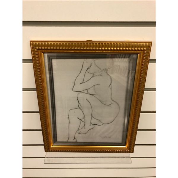 Frank Molnar Canadian (1936-2020) - framed photocopy of nude sketch 1965 - approx. 9in x 11in (77)