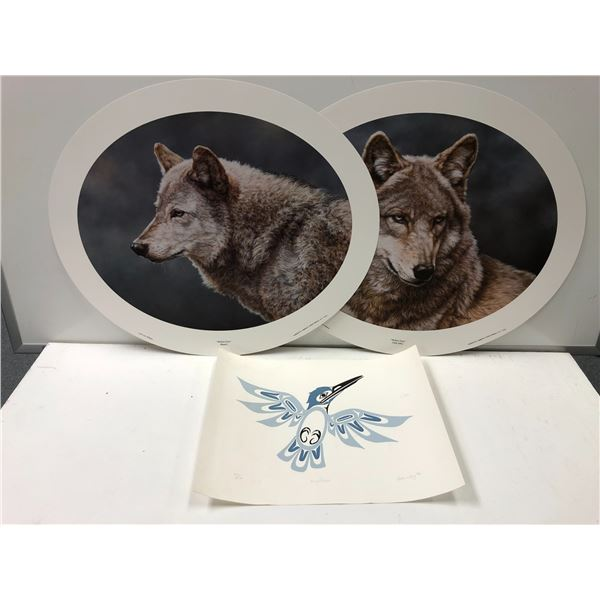 Two round wolf prints & limited edition signed & numbered King Fisher First Nations print