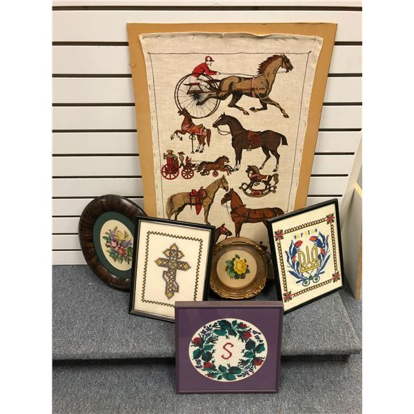 Group of 6 assorted decorative wall hangings