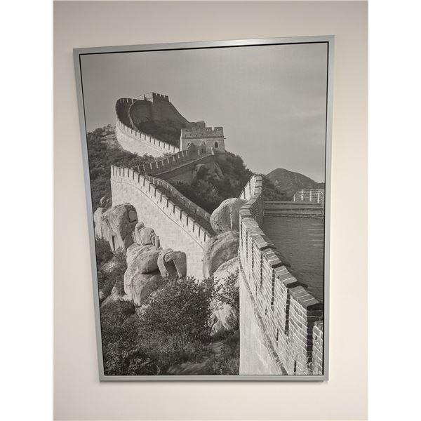 Large Great Wall of China framed black & white print on board - approx. 55 1/2in x 39 1/2in
