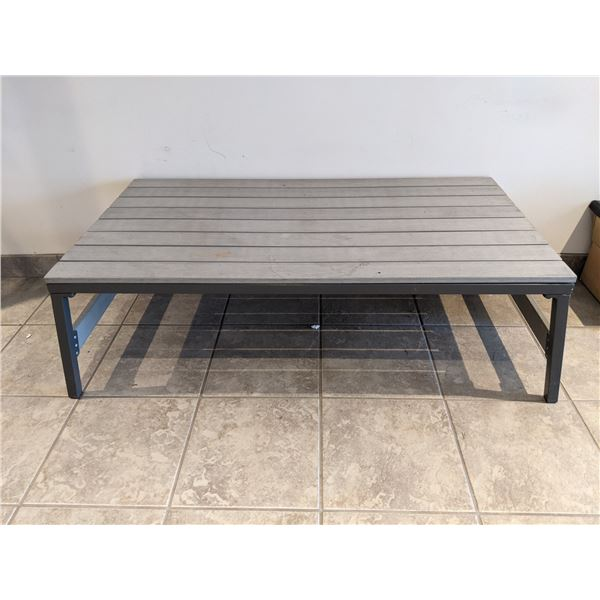 Two tone grey metal & wood coffee table
