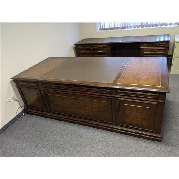 Executive burl paneled office desk w/ matching credenza