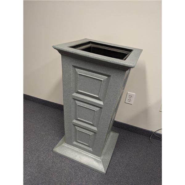Outdoor heavy-duty grey plastic planter - 33in tall x 18in