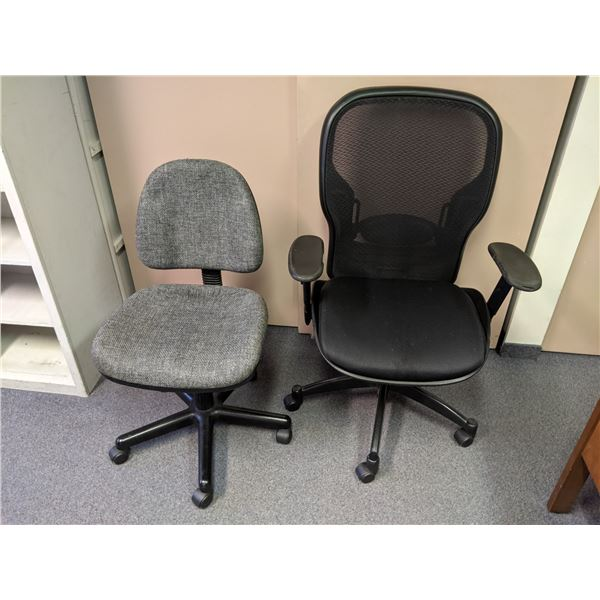 Two office chairs - black mesh back w/ worn arms & small grey upholstered chair