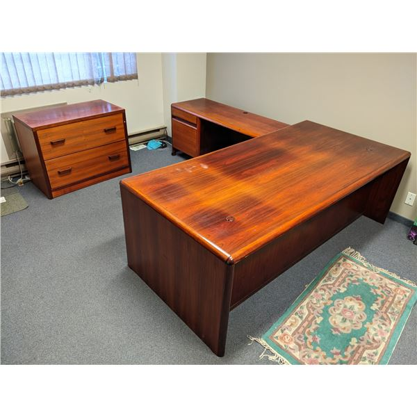 Three pc. executive office desk set - desk w/ runoff & matching 2 drawer lateral filing cabinet