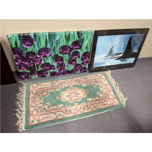 Group of 3 decorative items - purple tulip floral print on canvas/ orcas framed print & small Persia