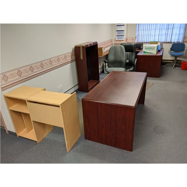 Room filled w/ assorted office furniture - desks/ bookshelf/ stands & office chairs