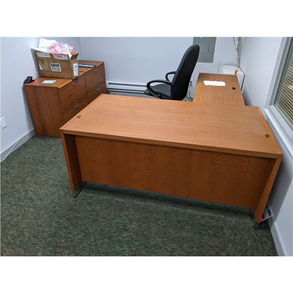 Two pc. office desk w/ office chair and 2 matching 2 drawer lateral filing cabinets