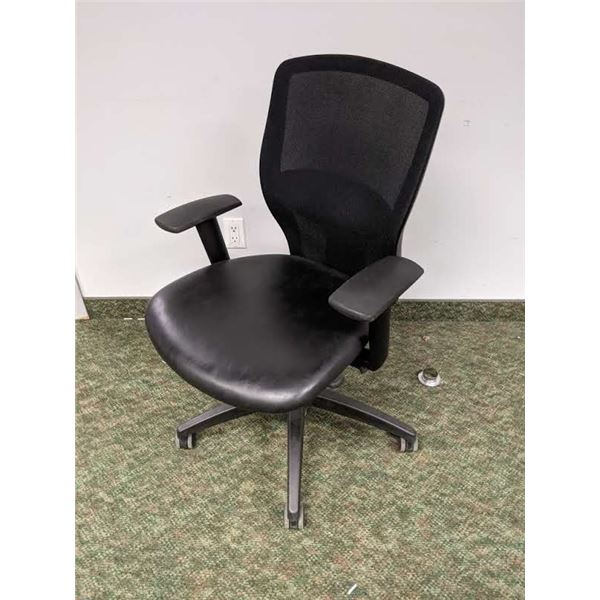 Black office chair mesh back w/ padded leather seat