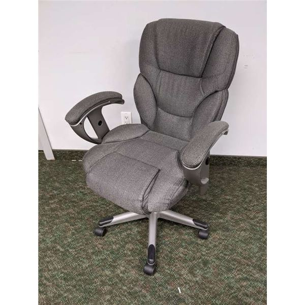 Grey upholstered office chair
