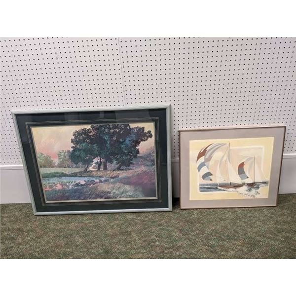 Two framed prints - sailboats signed by artist & wind blown meadow