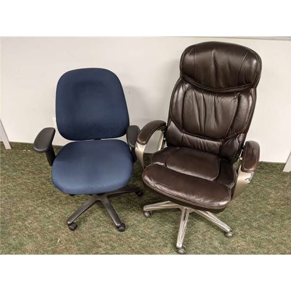 Two office chairs - brown leather executive & blue upholstered