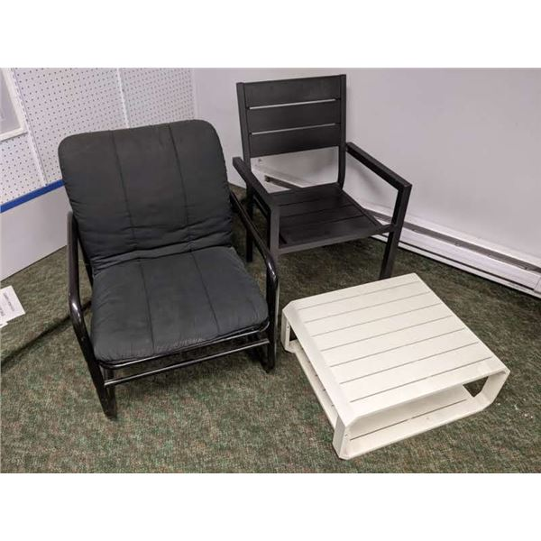 Group of 3 furniture items - black metal chair/ aluminum patio chair & white aluminum low patio side