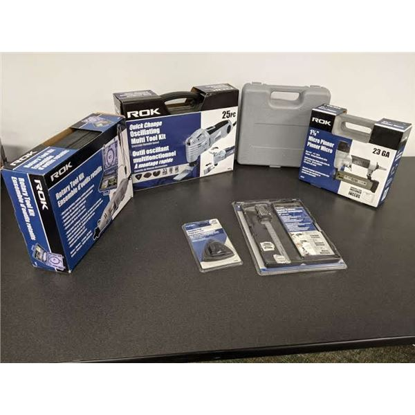 Group of 6 assorted ROK tools - oscillating tool kit/ rotary tool kit/ micro pinner/ digital caliper
