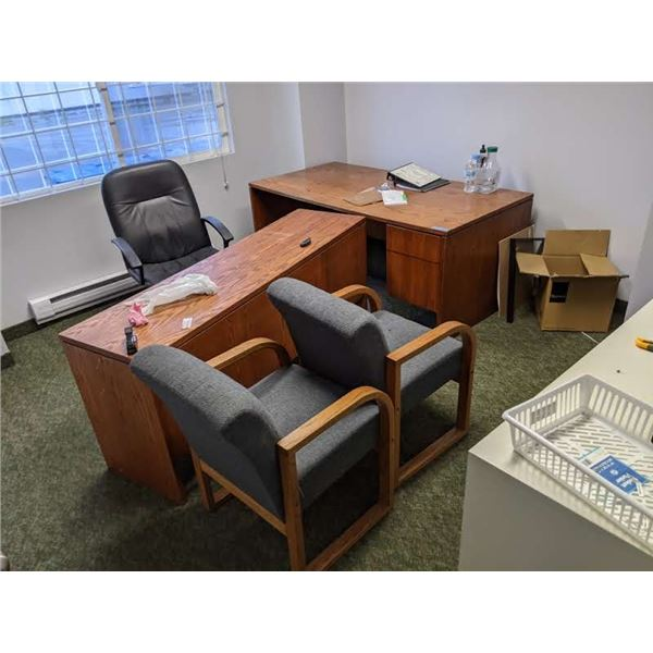 Office contents - desk/ office chairs/ client chairs/ lateral filing cabinet etc.