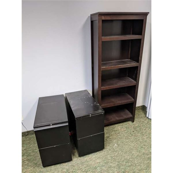 Two black metal filing cabinets & 6ft tall wooden bookshelf