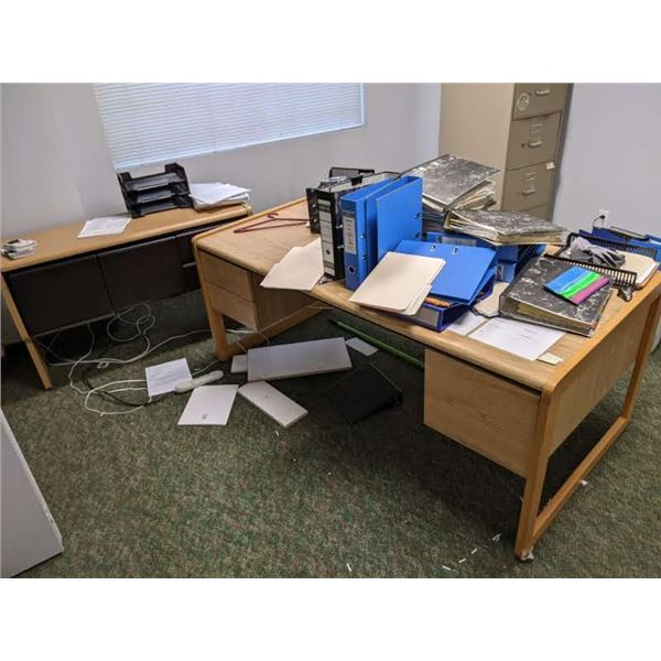 Contents of office - large double pedestal desk/ hutch credenza/ 4 drawer metal filing cabinet/ pape
