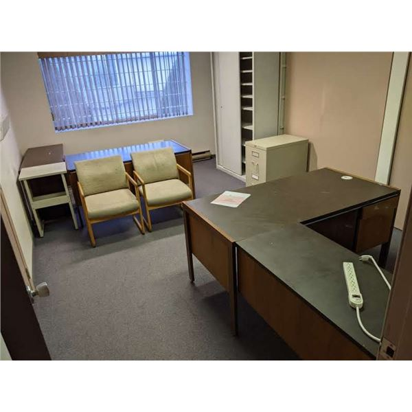 Contents of office - 2 desks/ client chairs/ metal filing cabinet etc.