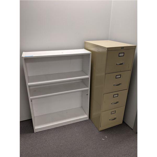 Four drawer beige metal filing cabinet & small white bookshelf