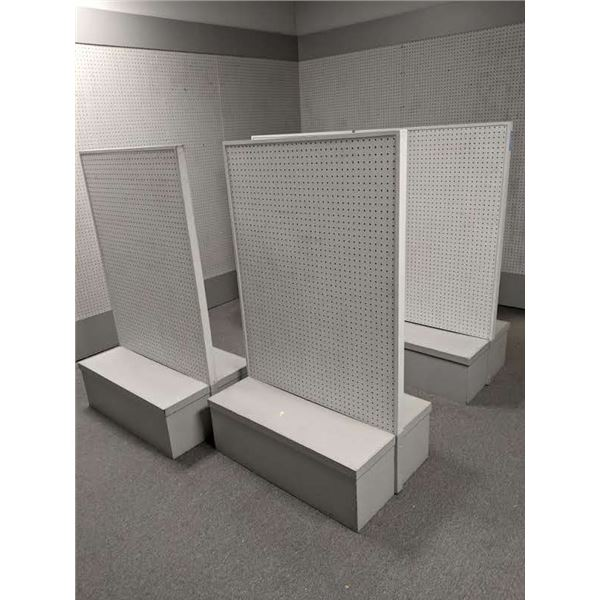Group of 5 approx. 3ft x 2ft peg board retail store shelving units gondola style