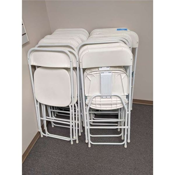 Approx. 25 white metal & plastic folding event/ banquet/ party chairs