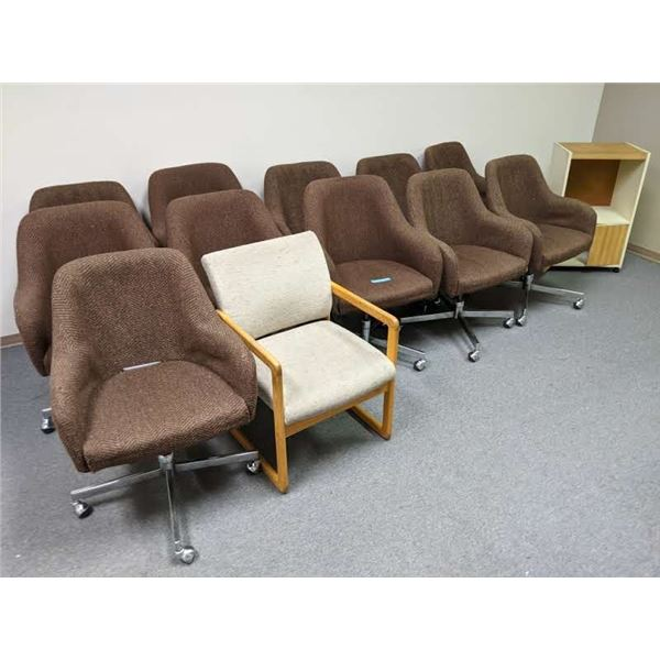 Large group of brown upholstered office chairs 11/ one client chair/ one rolling printer stand