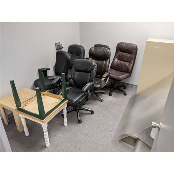Contents of office - 6 assorted office chairs/ 4 drawer metal filing cabinet/ floor protectors & ass