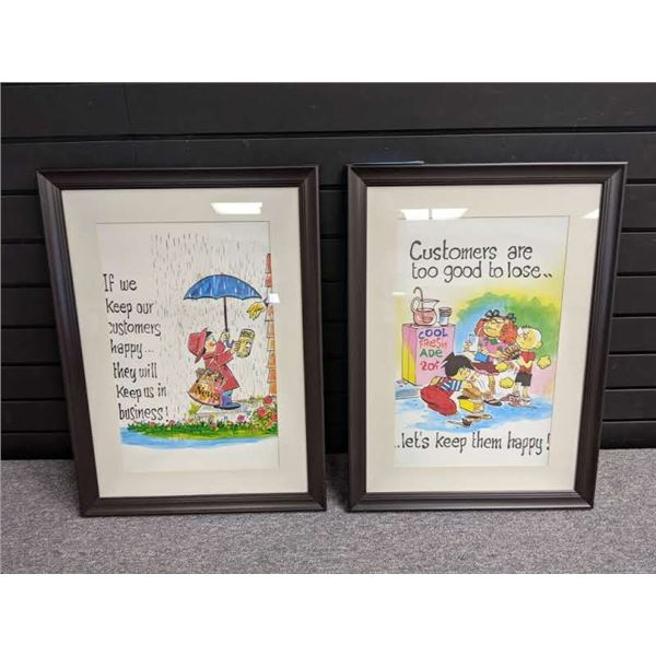 """Two framed """"Keep your customers happy"""" cartoon prints"""