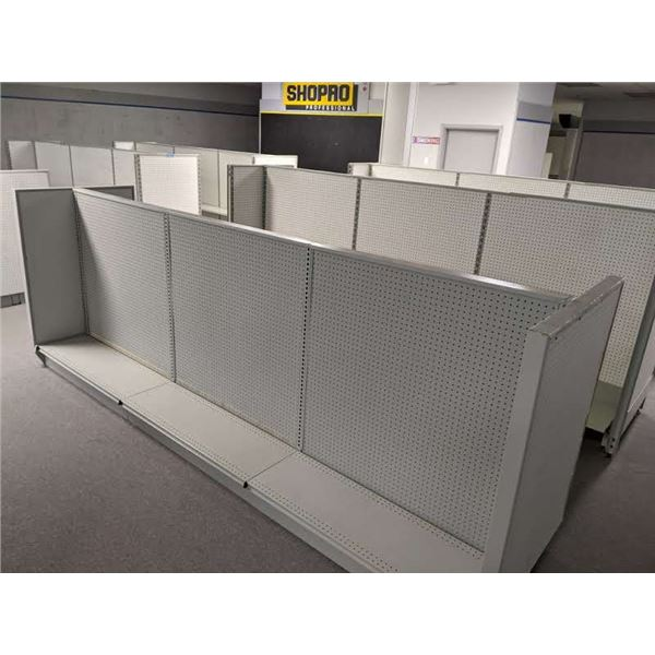 Group of 8 units approx. 12ft x 3ft pegboard retail store display stands gondola style w/ 7 boxes of