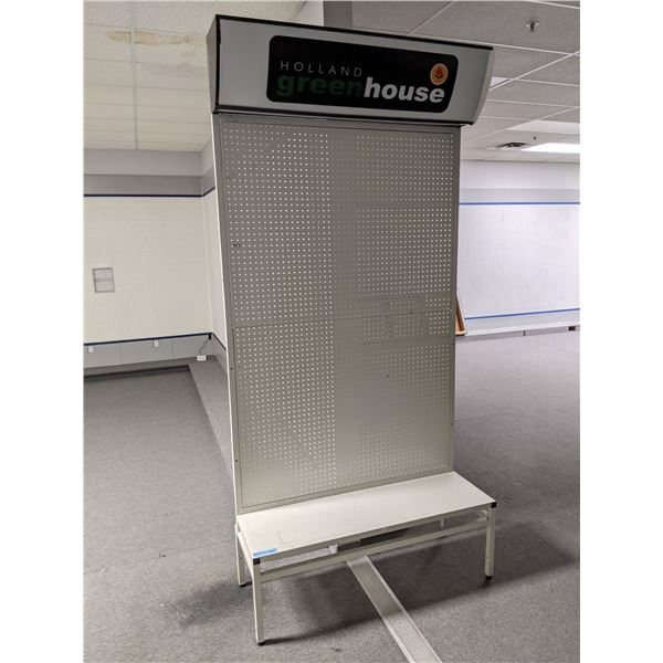 Pegboard retail store gondola style display stand - approx. 4ft x 1 1/2ft x 10ft tall