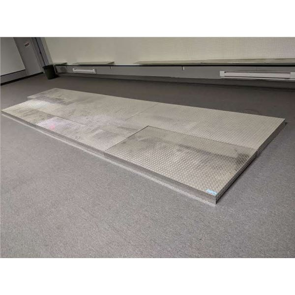 Group of 8 aluminum checkered plate display stages - various sizes - approx. 3 1/2 ft x 6ft/ approx.