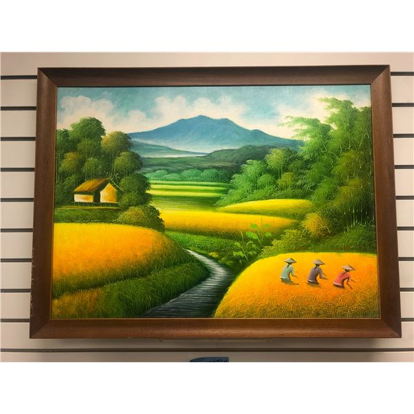 Framed oil on canvas painting - Asian fields & bamboo trees